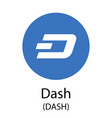 dash cryptocurrency symbol vector image vector image
