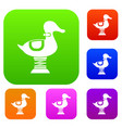 duck spring see saw set collection vector image vector image