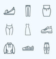 fashion icons line style set with platform shoes vector image