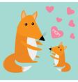 fox mother and bacute cartoon character set vector image