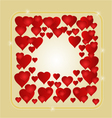 Frame with red hearts greeting card festive vector image