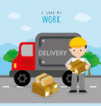 freighter service delivery carton truck boy vector image