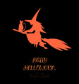 funny magic silhouette of witch and cat flying on vector image