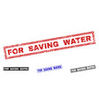 grunge for saving water textured rectangle stamps vector image vector image