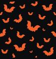 halloween seamless pattern with orange bats vector image