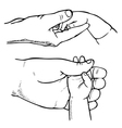 hand baby and parent vector image