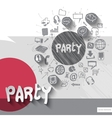 Hand drawn party icons with icons background vector image