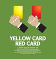 Hand Holding Red Card and Yellow Card vector image