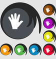 hand icon Symbols on eight colored buttons vector image vector image