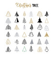 handdrawn christmas tree set vector image vector image
