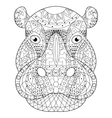 Hippopotamus head coloring for adults vector image vector image