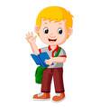 kids boy carrying book cartoon vector image