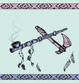 native american peace pipe and tomahawk vector image vector image
