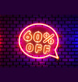 neon chat frame 60 off text banner night sign vector image vector image
