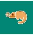paper sticker on stylish background chameleon vector image