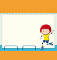 paper template with boy rollerskating vector image vector image