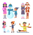people icons collection winter vector image