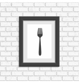Photo frame on white brick wall vector image vector image
