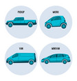 pickup truck microcar van road vehicle minivan vector image vector image