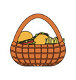 picnic basket with food icon vector image vector image