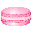 Pink macaron with cream inside vector image vector image