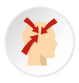 profile of the head with red arrows inside icon vector image vector image