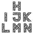 real maze alphabet font letters - part 2 vector image