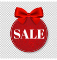 sale price tag with bow isolated transparent vector image vector image
