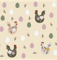 seamless pattern with chicken for easter and other vector image vector image