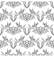 Seamless pattern with elk and flowers vector image vector image