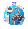 security systems isometric background vector image vector image