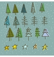 set 15 different fir christmas trees hand vector image