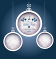 set of 3 christmas baubles on dark blue background vector image