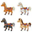 set of cartoon horses vector image