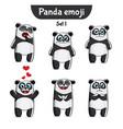 set of cute panda characters set 1 vector image