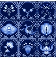 Set of elements in gzhel style as a dark blue vector image vector image
