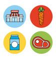 set or design elements relating to supermarket vector image