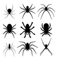 set spider silhouette icon top view vector image vector image