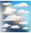 set transparent clouds with sun eps 10 vector image
