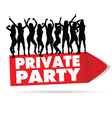 sign for private party with girl silhouette vector image vector image
