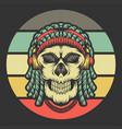skull dreadlocks headphone retro vector image vector image