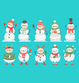 snowman cute christmas snowmen in winter clothes vector image vector image