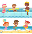 summer water games in aquapark cartoon vector image