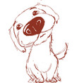very cute dog sketch drawing hand vector image