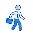 walking businessman line icon vector image