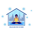 woman meditates at home vector image vector image