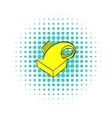 Yellow spiral arrow icon comics style vector image