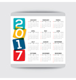 2017 calendar template week starts from Sunday vector image