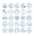 Fitness and healthy life style line icons vector image