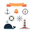 Marine set of icons vector image